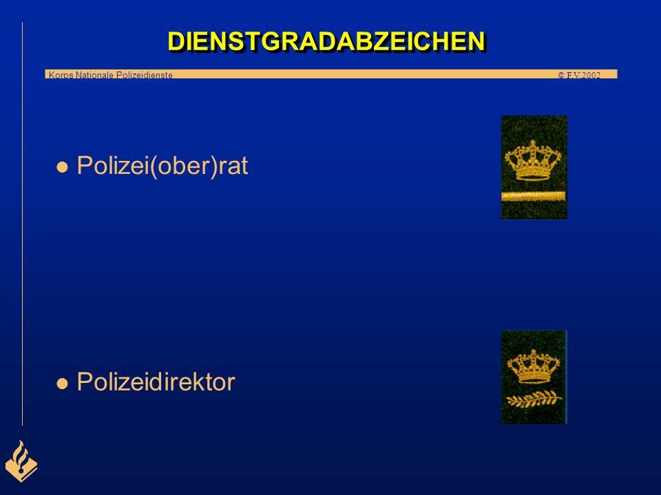 Korps Nationale Polizeidienste © F.V.2002 l Polizeikommissar l l Polizeihauptkommissar DIENSTGRADABZEICHENDIENSTGRADABZEICHEN