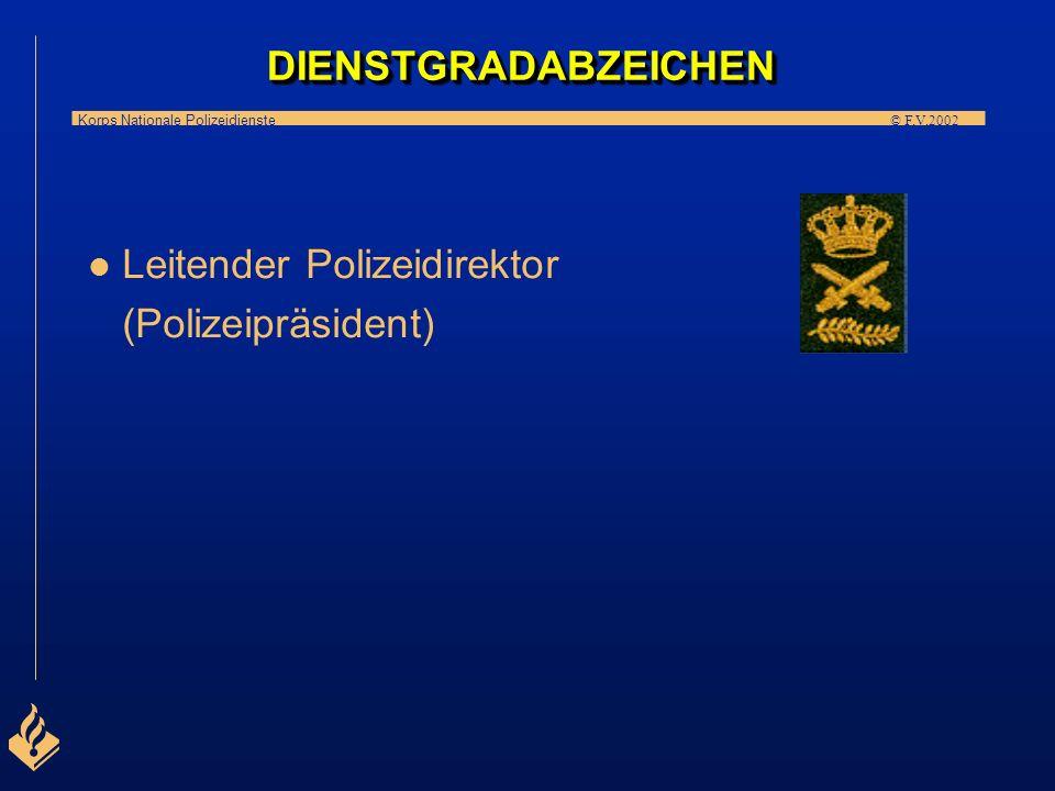 Korps Nationale Polizeidienste © F.V.2002 l l Polizei(ober)rat l l Polizeidirektor DIENSTGRADABZEICHENDIENSTGRADABZEICHEN