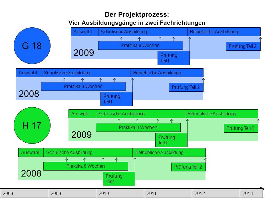 8 Der Projektprozess: Vier Ausbildungsgänge in zwei Fachrichtungen 200820092010201120122013 2008 AuswahlSchulische AusbildungBetriebliche Ausbildung P