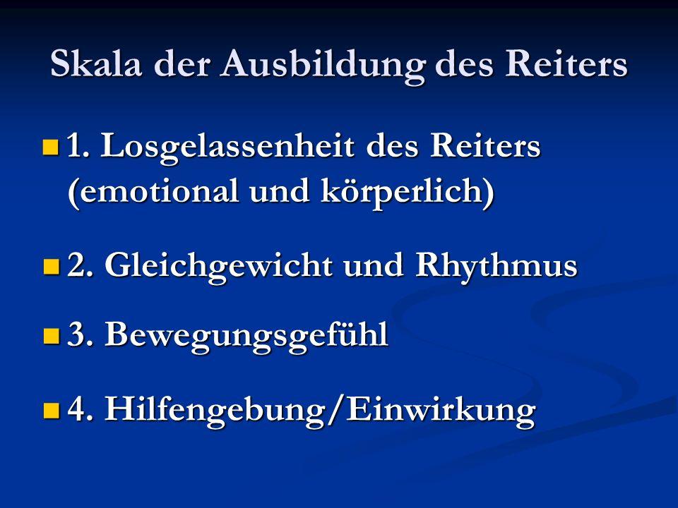 Skala der Ausbildung des Reiters 1. Losgelassenheit des Reiters (emotional und körperlich) 1. Losgelassenheit des Reiters (emotional und körperlich) 2