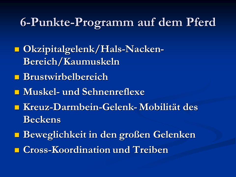 6-Punkte-Programm auf dem Pferd Okzipitalgelenk/Hals-Nacken- Bereich/Kaumuskeln Okzipitalgelenk/Hals-Nacken- Bereich/Kaumuskeln Brustwirbelbereich Bru