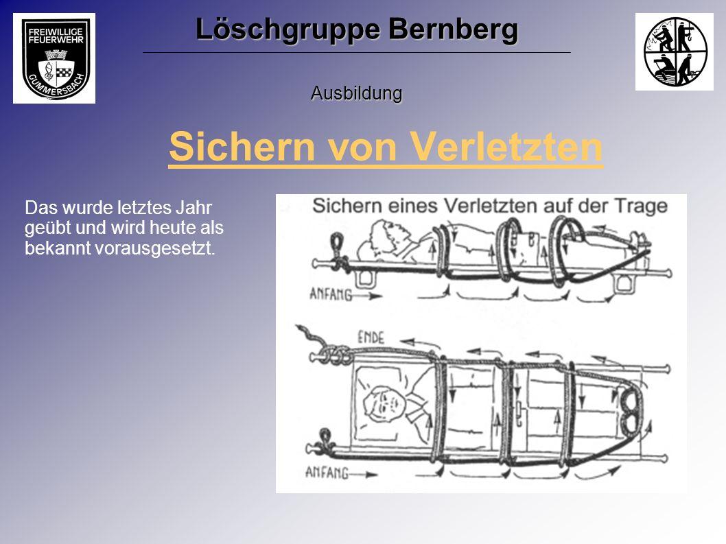 Sichern von Verletzten Das wurde letztes Jahr geübt und wird heute als bekannt vorausgesetzt. Löschgruppe Bernberg Ausbildung