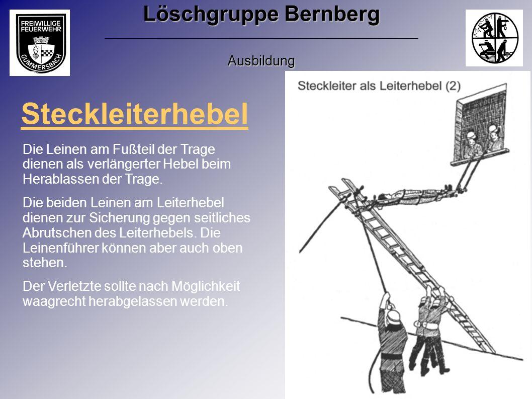 Steckleiterhebel Die Leinen am Fußteil der Trage dienen als verlängerter Hebel beim Herablassen der Trage. Die beiden Leinen am Leiterhebel dienen zur