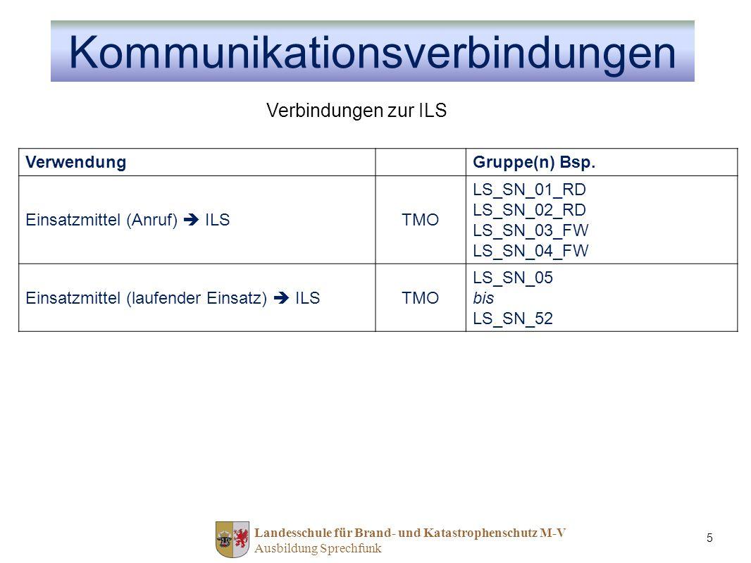 Landesschule für Brand- und Katastrophenschutz M-V Ausbildung Sprechfunk 5 VerwendungGruppe(n) Bsp. Einsatzmittel (Anruf) ILSTMO LS_SN_01_RD LS_SN_02_