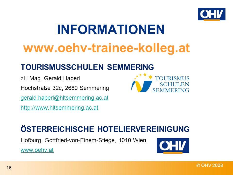 INFORMATIONEN TOURISMUSSCHULEN SEMMERING zH Mag.