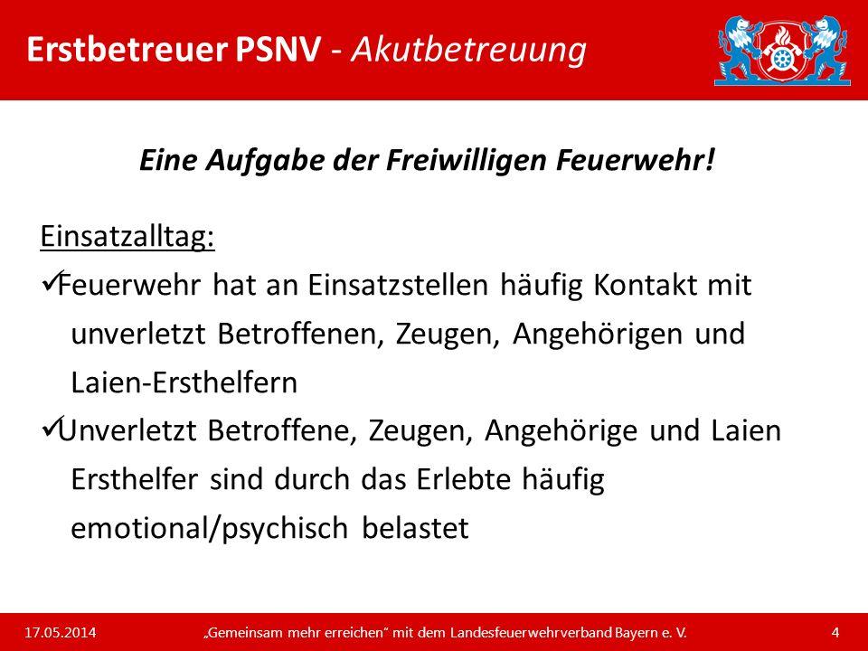 Unsere Arbeit und unsere Leistungen für die bayerischen Feuerwehren Erstbetreuer PSNV - Basiswissen Psychotraumatologie… …ist die Wissenschaft davon, wie Menschen extreme Ereignisse verarbeiten und wie man sie dabei unterstützen kann.