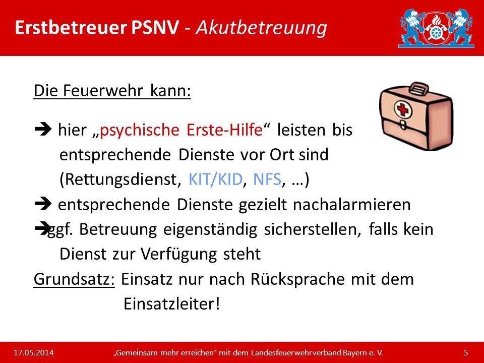Unsere Arbeit und unsere Leistungen für die bayerischen Feuerwehren Erstbetreuer PSNV - Notwendigkeit einer Akutbetreuung Der Rettungsdienst ist in den allermeisten Fällen primär nur mit wenigen Helfern vor Ort.