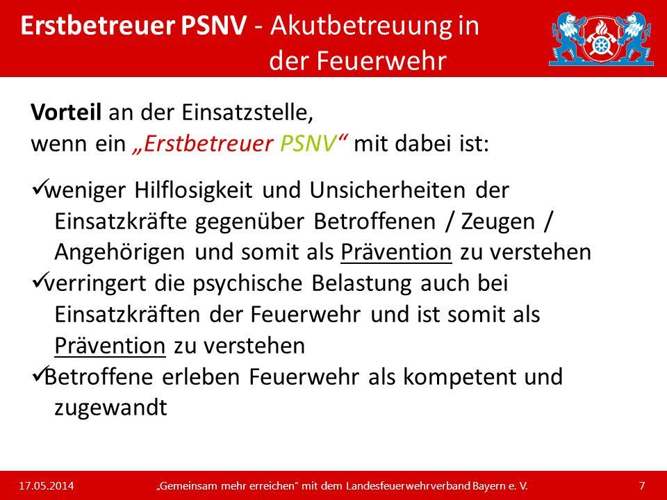 Unsere Arbeit und unsere Leistungen für die bayerischen Feuerwehren Erstbetreuer PSNV - Psychotraumatologie: Grundbegriffe Posttraumatische Belastungsstörung… …entsteht aus einer akuten Belastungsreaktion, wenn die/der Betroffene aus welchen Gründen auch immer keine Verarbeitung des Erlebten beginnen kann.