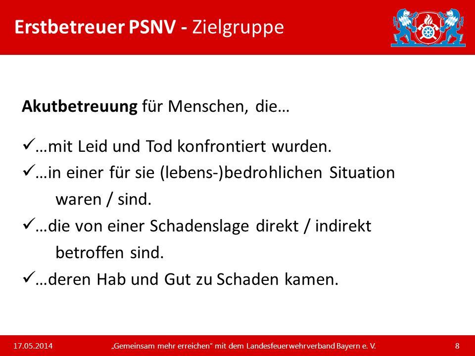 Unsere Arbeit und unsere Leistungen für die bayerischen Feuerwehren Erstbetreuer PSNV – Patientenzentrierte Kommunikation 17.05.2014 Gemeinsam mehr erreichen mit dem Landesfeuerwehrverband Bayern e.