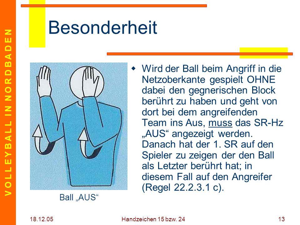 V O L L E Y B A L L I N N O R D B A D E N 18.12.05 Handzeichen 15 bzw. 2413 Besonderheit Wird der Ball beim Angriff in die Netzoberkante gespielt OHNE