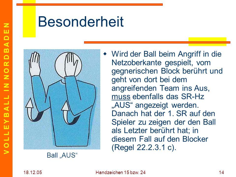 V O L L E Y B A L L I N N O R D B A D E N 18.12.05 Handzeichen 15 bzw. 2414 Besonderheit Wird der Ball beim Angriff in die Netzoberkante gespielt, vom