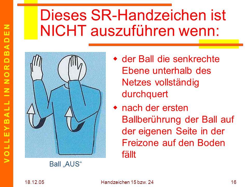 V O L L E Y B A L L I N N O R D B A D E N 18.12.05 Handzeichen 15 bzw. 2416 Dieses SR-Handzeichen ist NICHT auszuführen wenn: der Ball die senkrechte