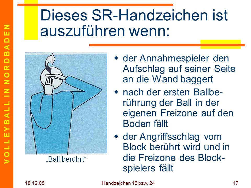 V O L L E Y B A L L I N N O R D B A D E N 18.12.05 Handzeichen 15 bzw. 2417 Dieses SR-Handzeichen ist auszuführen wenn: der Annahmespieler den Aufschl