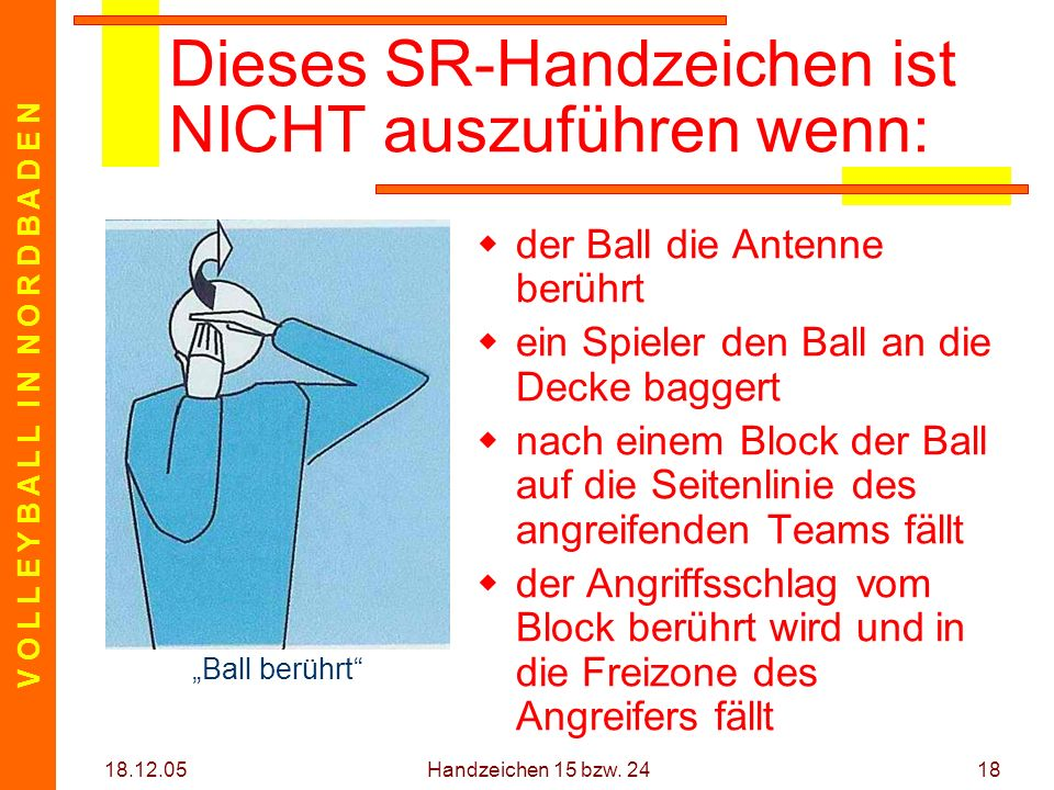 V O L L E Y B A L L I N N O R D B A D E N 18.12.05 Handzeichen 15 bzw. 2418 Dieses SR-Handzeichen ist NICHT auszuführen wenn: der Ball die Antenne ber