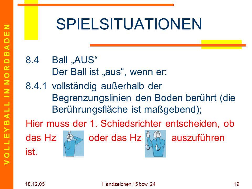 V O L L E Y B A L L I N N O R D B A D E N 18.12.05 Handzeichen 15 bzw. 2419 SPIELSITUATIONEN 8.4Ball AUS Der Ball ist aus, wenn er: 8.4.1vollständig a