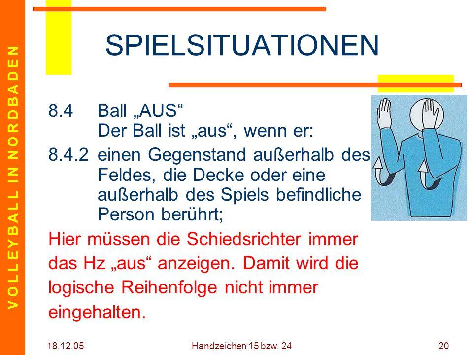 V O L L E Y B A L L I N N O R D B A D E N 18.12.05 Handzeichen 15 bzw. 2420 SPIELSITUATIONEN 8.4Ball AUS Der Ball ist aus, wenn er: 8.4.2einen Gegenst