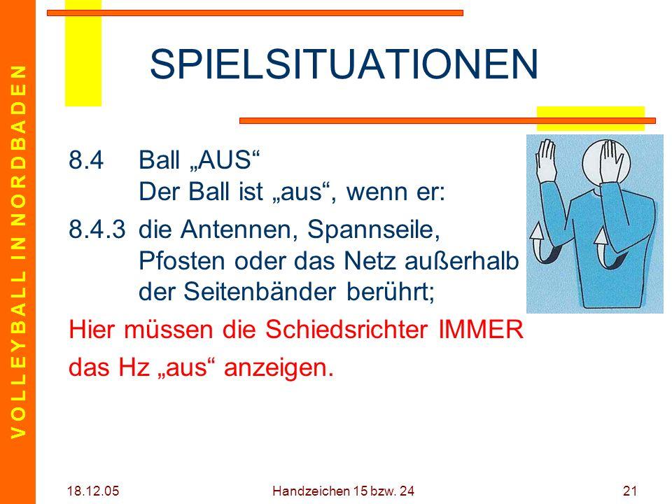 V O L L E Y B A L L I N N O R D B A D E N 18.12.05 Handzeichen 15 bzw. 2421 SPIELSITUATIONEN 8.4Ball AUS Der Ball ist aus, wenn er: 8.4.3die Antennen,