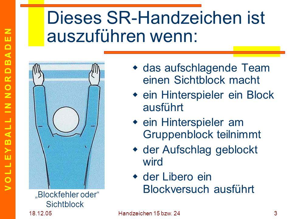 V O L L E Y B A L L I N N O R D B A D E N 18.12.05 Handzeichen 15 bzw. 243 Dieses SR-Handzeichen ist auszuführen wenn: das aufschlagende Team einen Si