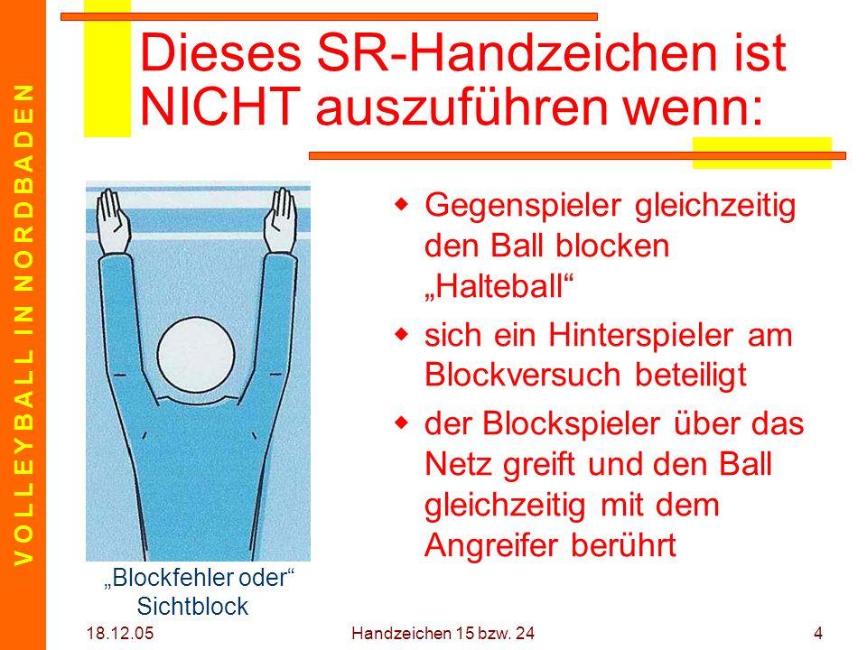 V O L L E Y B A L L I N N O R D B A D E N 18.12.05 Handzeichen 15 bzw. 244 Dieses SR-Handzeichen ist NICHT auszuführen wenn: Gegenspieler gleichzeitig