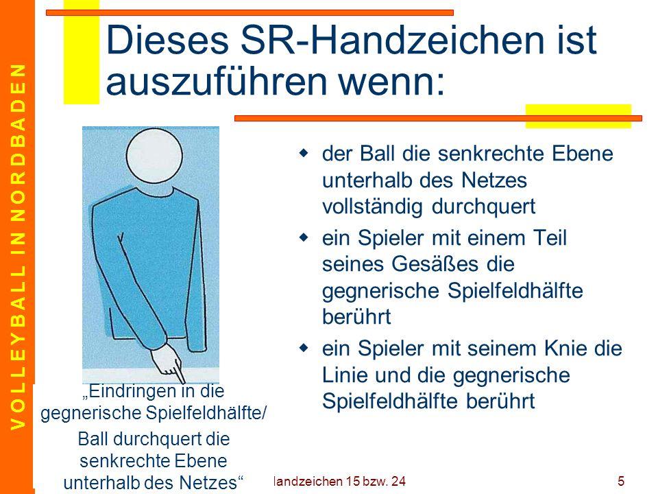 V O L L E Y B A L L I N N O R D B A D E N 18.12.05 Handzeichen 15 bzw. 245 Dieses SR-Handzeichen ist auszuführen wenn: der Ball die senkrechte Ebene u