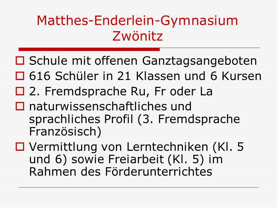 Matthes-Enderlein-Gymnasium Zwönitz Schule mit offenen Ganztagsangeboten 616 Schüler in 21 Klassen und 6 Kursen 2. Fremdsprache Ru, Fr oder La naturwi