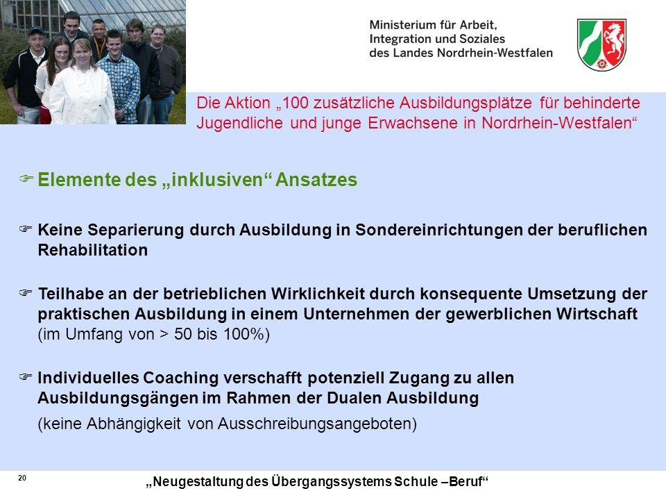 21 Neugestaltung des Übergangssystems Schule –Beruf EIN Übergangssystem für ALLE Jugendlichen Ein-Topf BuS Betrieb und Schule STARTKLAR.