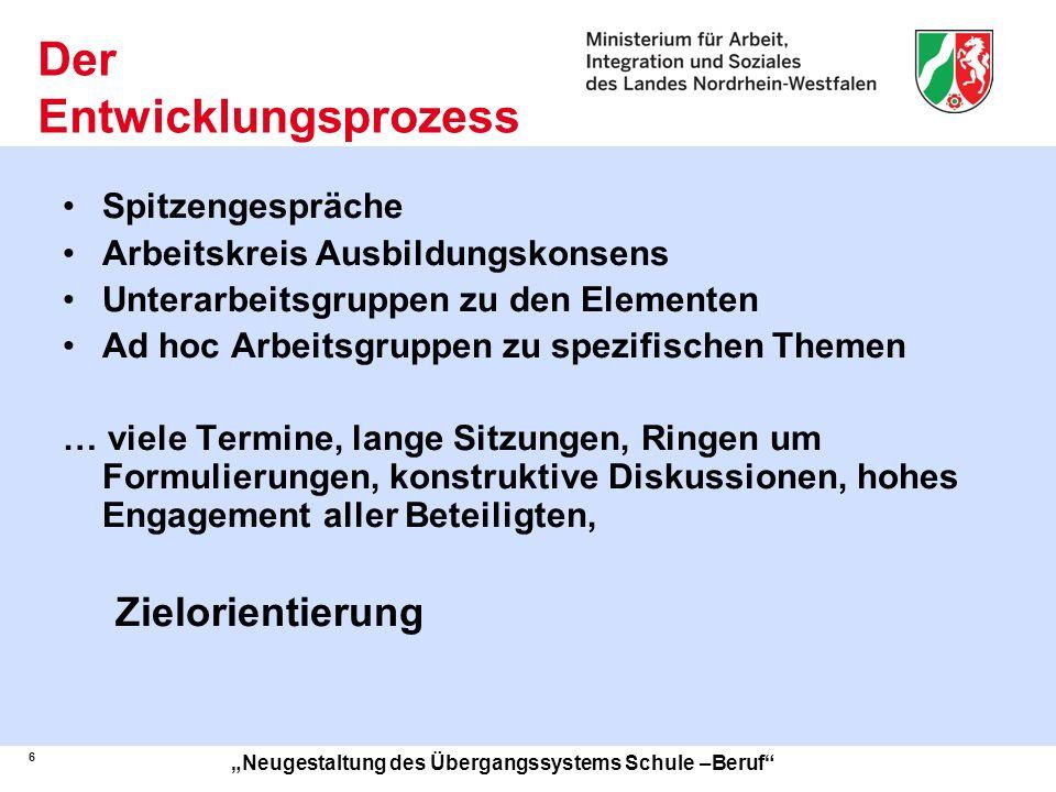 7 Neugestaltung des Übergangssystems Schule –Beruf Das Gesamtkonzept Das Gesamtkonzept umfasst die Bereiche Standardelemente der Berufs- und Studienorientierung in allen allgemein bildenden Schulen der Sek.