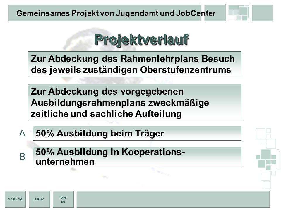 17/05/14 Folie 9 Gemeinsames Projekt von Jugendamt und JobCenter LiGA AkteureAkteure Die jungen Menschen JobCenter Berlin Lichtenberg Bezirksamt Licht