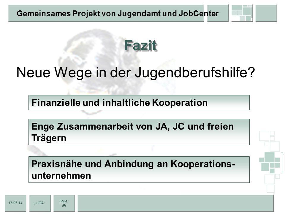 17/05/14 Folie 12 Gemeinsames Projekt von Jugendamt und JobCenter LiGA Der Trägerverbund Vereinheitlichung der Arbeitspapiere Abstimmung einheitliche