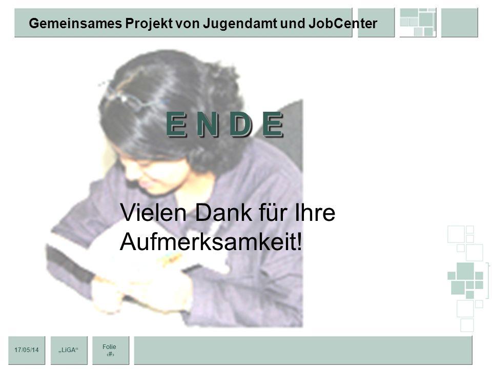 17/05/14 Folie 13 Gemeinsames Projekt von Jugendamt und JobCenter LiGA FazitFazit Neue Wege in der Jugendberufshilfe? Finanzielle und inhaltliche Koop