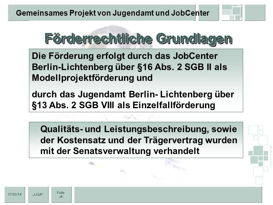 17/05/14 Folie 6 Gemeinsames Projekt von Jugendamt und JobCenter LiGA Förderrechtliche Grundlagen Die Förderung erfolgt durch das JobCenter Berlin-Lichtenberg über §16 Abs.