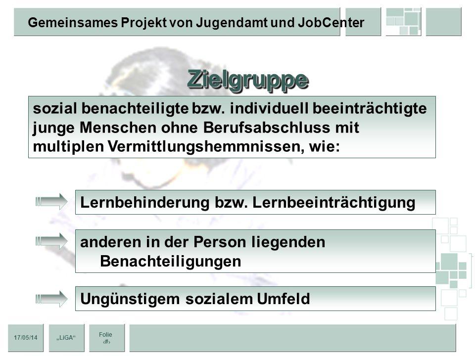 17/05/14 Folie 7 Gemeinsames Projekt von Jugendamt und JobCenter LiGA ZielgruppeZielgruppe sozial benachteiligte bzw.
