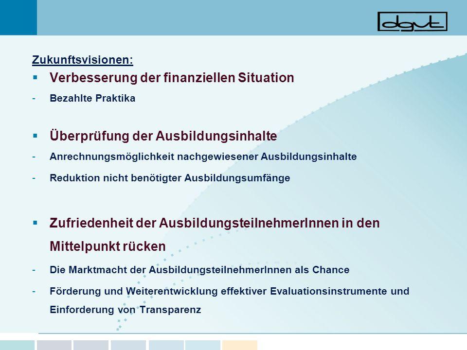 Zukunftsvisionen: Verbesserung der finanziellen Situation -Bezahlte Praktika Überprüfung der Ausbildungsinhalte -Anrechnungsmöglichkeit nachgewiesener