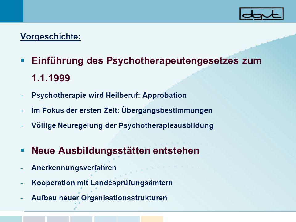 Vorgeschichte: Einführung des Psychotherapeutengesetzes zum 1.1.1999 -Psychotherapie wird Heilberuf: Approbation -Im Fokus der ersten Zeit: Übergangsb