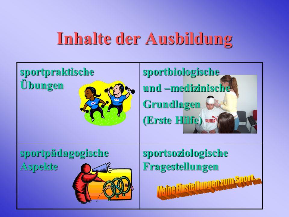 Inhalte der Ausbildung sportpraktische Übungen sportbiologische und –medizinische Grundlagen (Erste Hilfe) sportpädagogische Aspekte sportsoziologisch