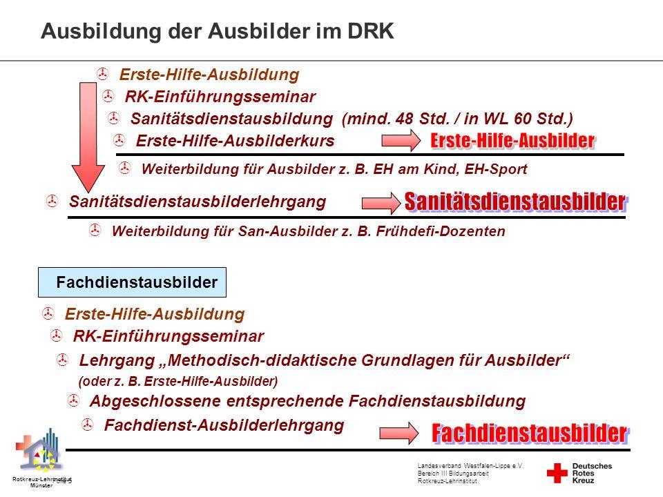 Landesverband Westfalen-Lippe e.V. Bereich III Bildungsarbeit Rotkreuz-Lehrinstitut. Folie 5 Rotkreuz-Lehrinstitut Münster RK-Einführungsseminar Erste