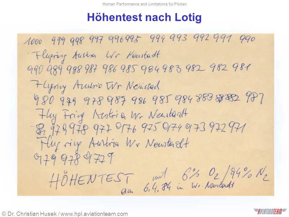 © Dr. Christian Husek / www.hpl.aviationteam.com Human Performance and Limitations für Piloten Höhentest nach Lotig