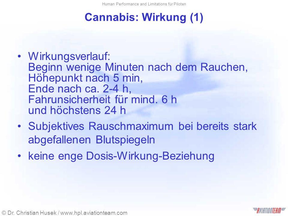 © Dr. Christian Husek / www.hpl.aviationteam.com Human Performance and Limitations für Piloten Cannabis: Wirkung (1) Wirkungsverlauf: Beginn wenige Mi