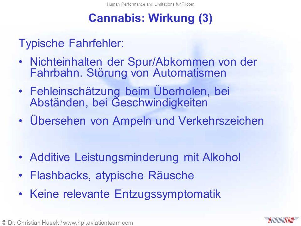 © Dr. Christian Husek / www.hpl.aviationteam.com Human Performance and Limitations für Piloten Cannabis: Wirkung (3) Typische Fahrfehler: Nichteinhalt