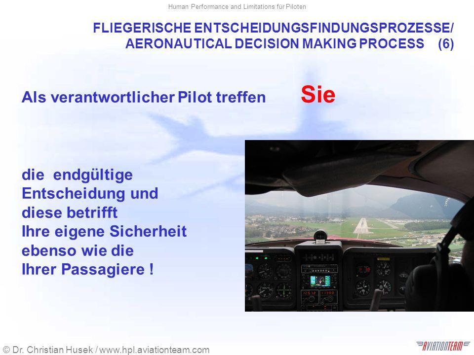 © Dr. Christian Husek / www.hpl.aviationteam.com Human Performance and Limitations für Piloten FLIEGERISCHE ENTSCHEIDUNGSFINDUNGSPROZESSE/ AERONAUTICA