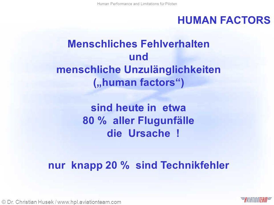 © Dr. Christian Husek / www.hpl.aviationteam.com Human Performance and Limitations für Piloten Menschliches Fehlverhalten und menschliche Unzulänglich