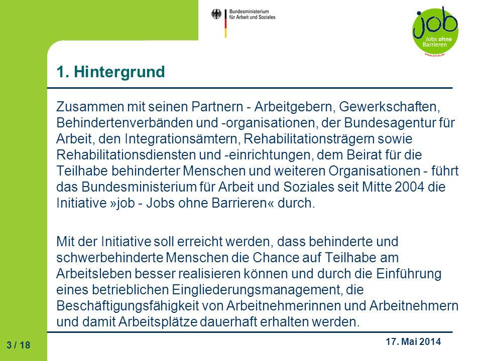 4 / 18 17.Mai 2014 2. Die Initiative verfolgt drei Ziele......