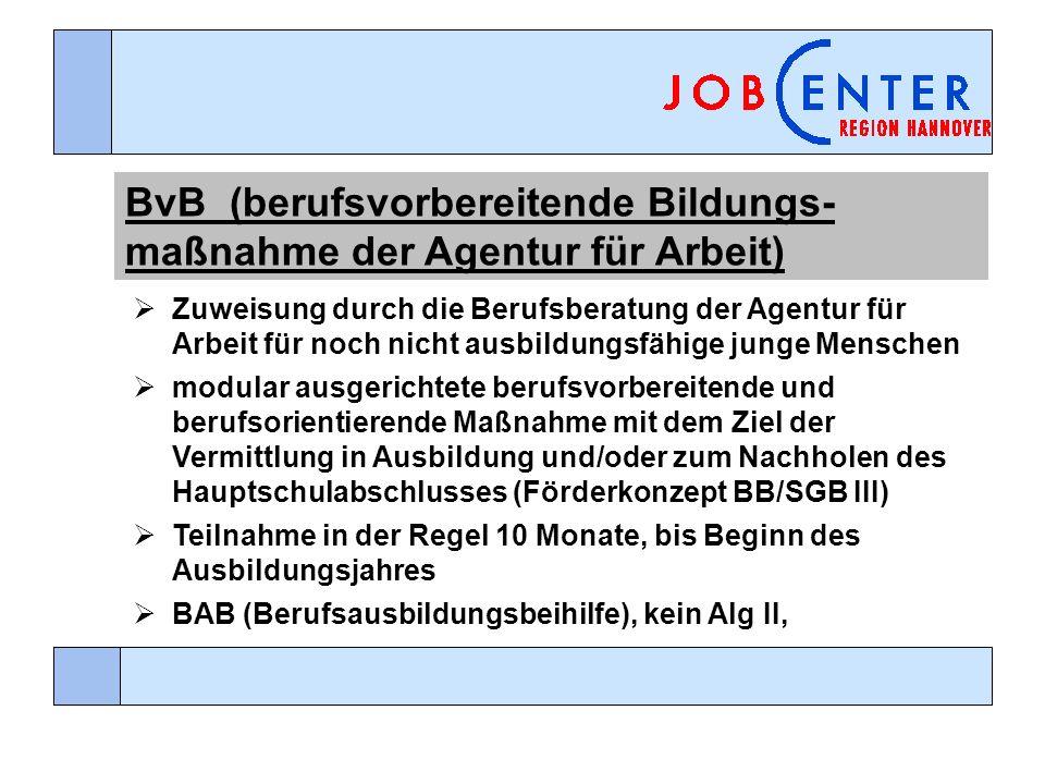BvB(berufsvorbereitende Bildungs- maßnahme der Agentur für Arbeit) Zuweisung durch die Berufsberatung der Agentur für Arbeit für noch nicht ausbildungsfähige junge Menschen modular ausgerichtete berufsvorbereitende und berufsorientierende Maßnahme mit dem Ziel der Vermittlung in Ausbildung und/oder zum Nachholen des Hauptschulabschlusses (Förderkonzept BB/SGB III) Teilnahme in der Regel 10 Monate, bis Beginn des Ausbildungsjahres BAB (Berufsausbildungsbeihilfe), kein Alg II,