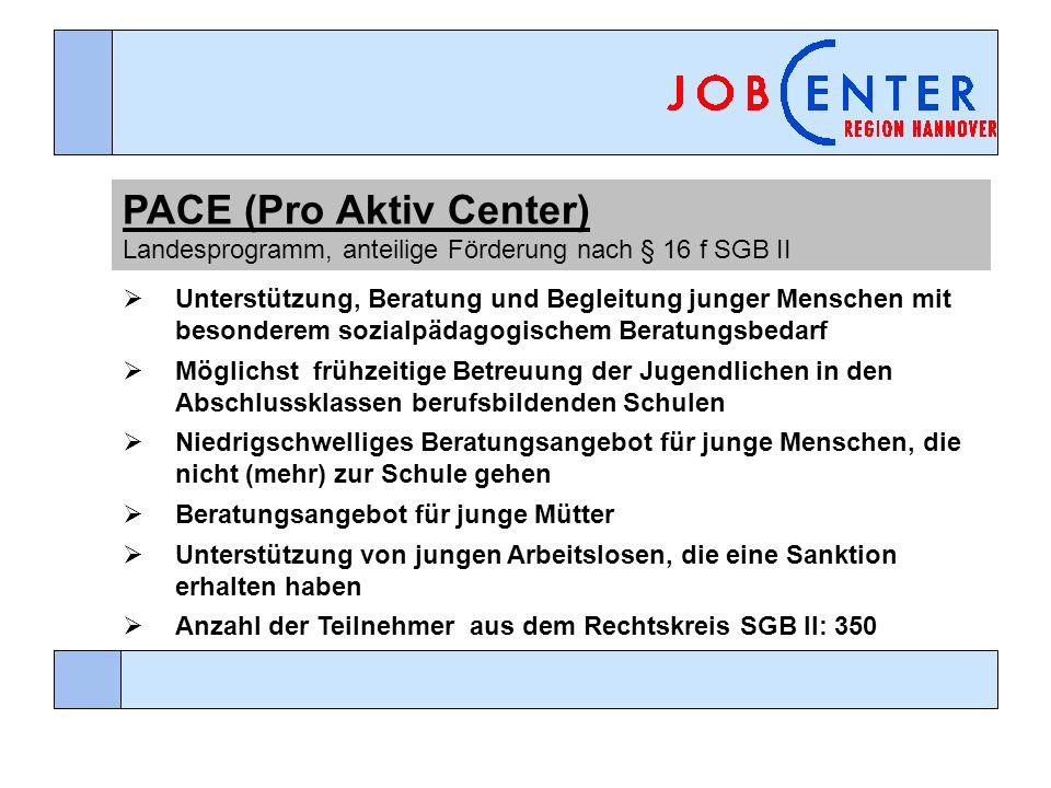 PACE (Pro Aktiv Center) Landesprogramm, anteilige Förderung nach § 16 f SGB II Unterstützung, Beratung und Begleitung junger Menschen mit besonderem s