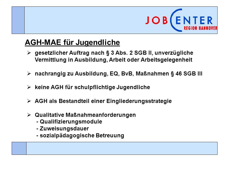 AGH-MAE für Jugendliche gesetzlicher Auftrag nach § 3 Abs. 2 SGB II, unverzügliche Vermittlung in Ausbildung, Arbeit oder Arbeitsgelegenheit nachrangi
