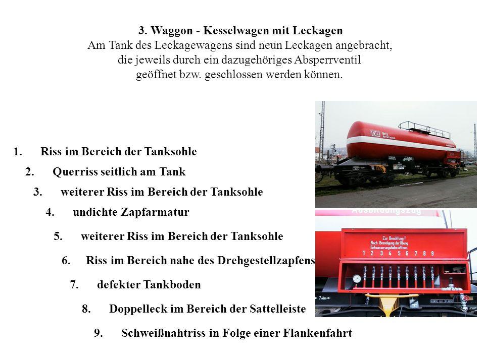 3. Waggon - Kesselwagen mit Leckagen Am Tank des Leckagewagens sind neun Leckagen angebracht, die jeweils durch ein dazugehöriges Absperrventil geöffn