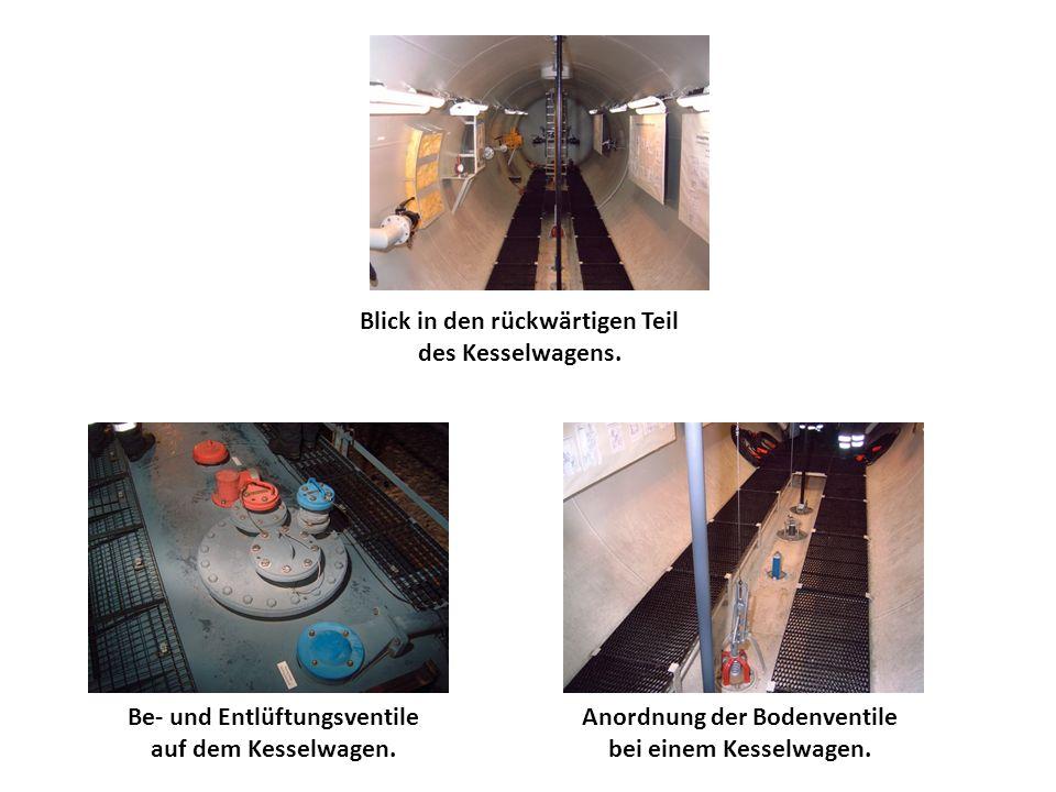 Be- und Entlüftungsventile auf dem Kesselwagen. Anordnung der Bodenventile bei einem Kesselwagen. Blick in den rückwärtigen Teil des Kesselwagens.