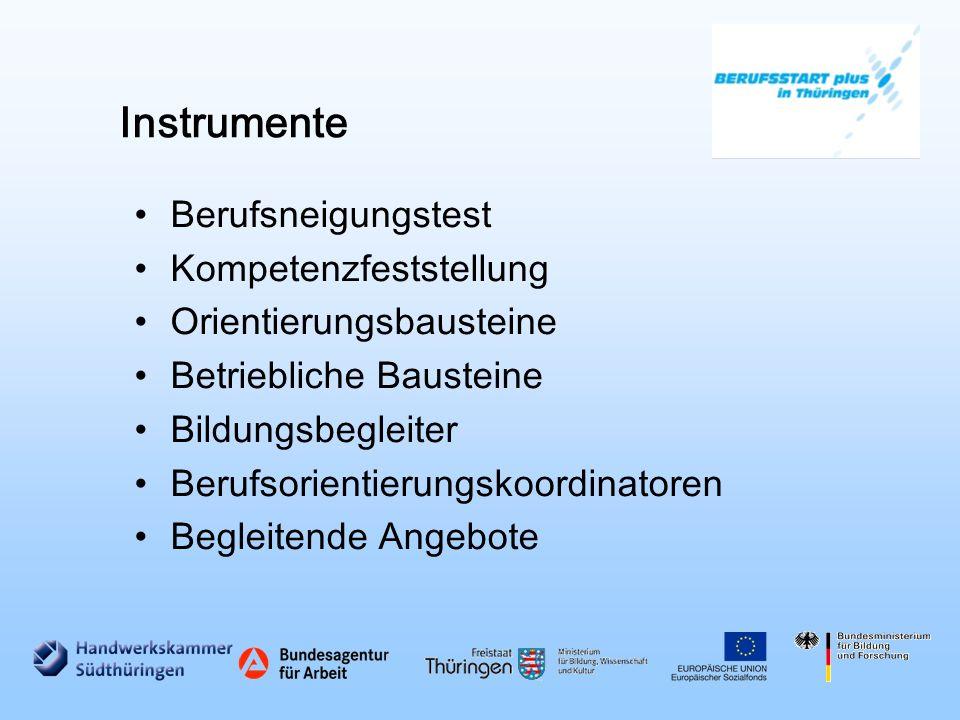 Instrumente Berufsneigungstest Kompetenzfeststellung Orientierungsbausteine Betriebliche Bausteine Bildungsbegleiter Berufsorientierungskoordinatoren Begleitende Angebote