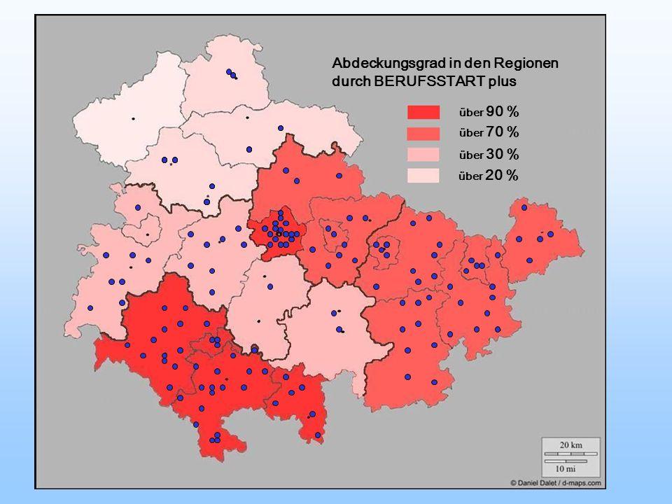 Abdeckungsgrad in den Regionen durch BERUFSSTART plus über 90 % über 70 % über 30 % über 20 %