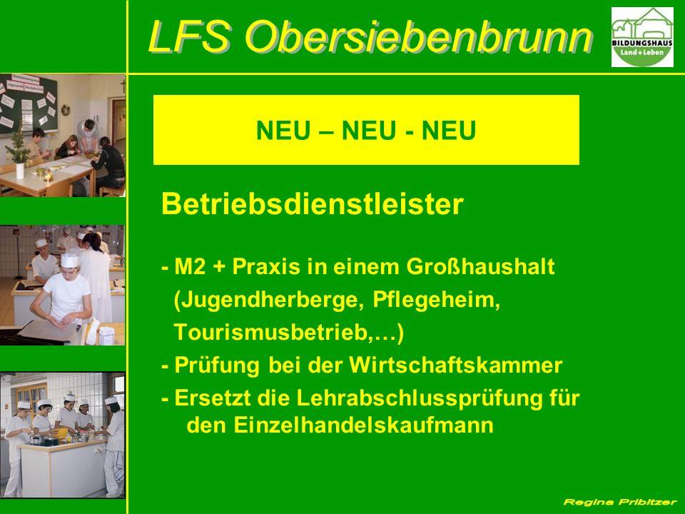 NEU – NEU - NEU Betriebsdienstleister - M2 + Praxis in einem Großhaushalt (Jugendherberge, Pflegeheim, Tourismusbetrieb,…) - Prüfung bei der Wirtschaf